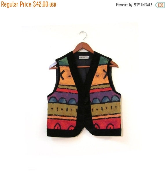 BTS SALE Vintage 80s Colorful Woven Cotton Abstract Tribal Blazer xs s
