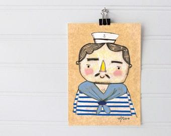 Sailor Doodle Print - Cute Sailor Doodle illustration - 5x7 Print Ready To Frame