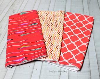 BagEnvy Handbags'  Burp Cloths -  You Choose - Coral Arrows -  Herringbone Chevron - Coral Quatrefoil