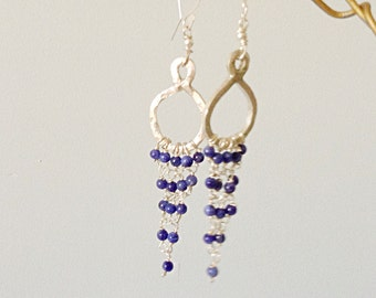 Sodalite  925 Silver Hoop Chandelier Dangle Earrings