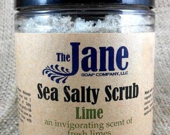 Lime Sea Salt Body Scrub - Essential Oil - Vegan Friendly - Relaxing Bath Scrub - 12oz