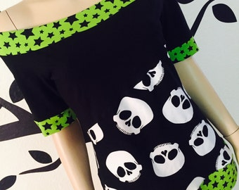 Lime Stars • Off Shoulder • Top • Shirt • Tee • Green / Black • Custom Size • Small / Medium / Large / XL / 1X / 2X