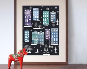 New York Brooklyn Brownstone Houses on a Winter's Night Art Print