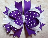 SALE - Girls Boutique Hair Bow,  Twisted Boutique Bow, Stacked Hair Bow,  Purple Hair Bow, Ready To Ship