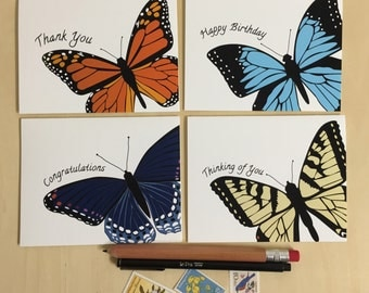 Butterfly Greeting Cards - Boxed Set of 4