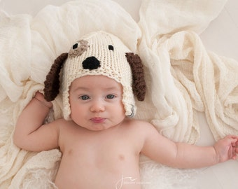Puppy Hat, Dog Hat, Photo Prop, Animal Hat for Kids, Hat with Ears