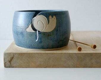 SECONDS SALE - The happy snail yarn bowl glazed in smokey blue