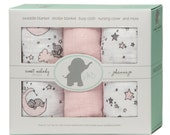 Swaddle Blankets -- Elephant Pink Stars -- Pack of 3