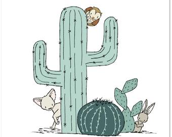 Nursery Art -- Southwest Peek A Boo -- Cactus Nursery Art -- Kids Wall Art