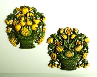 Pair of LARGE Vintage Gold & Avocado Green Fruit Baskets - Wall Decor by Syroco made in USA
