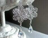 Vintage Inspired Earrings - Rhinestone Earrings - Silver Flower Earrings - Filigree Earrings - Birthday Gift - Bridal Earrings
