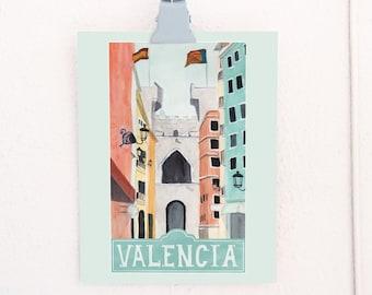 Valencia, Spain Travel Poster art print of an original watercolor illustration
