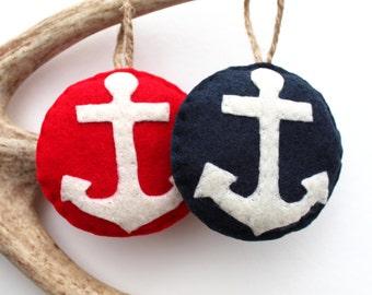 Anchor Felt Christmas Ornament . Nautical Christmas Ornament . Gift for Sailor . Gift for Boater . (Made to Order)