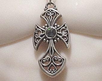 Silver Cross Dollfie necklace with gray swarovski crystal