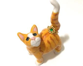 Cat Ring Holder, Hand-Built Cat Sculpture, Orange Tabby Cat
