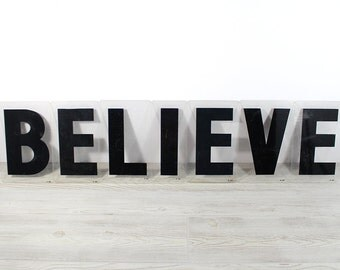 BELIEVE - Vintage Acrylic Marquee - 8 Inch Clear Plastic Letters
