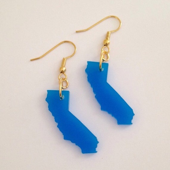 Blue California Earrings on Gold Plated Earring Hooks - Acrylic State Jewelry - Gift for Her