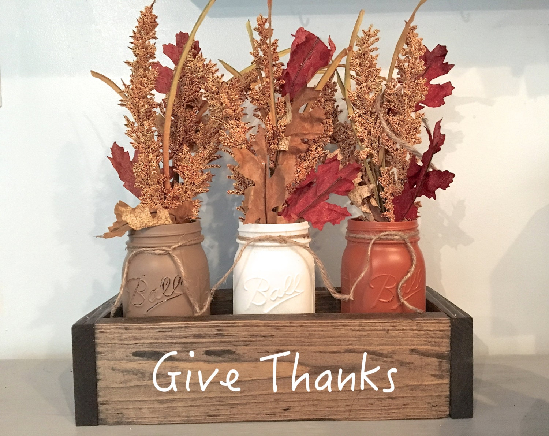 Fall centerpiece mantle decor planter box thanksgiving