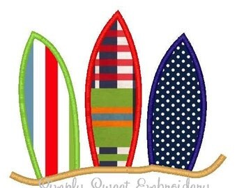 Three Surf Boards Machine Embroidery Applique Design