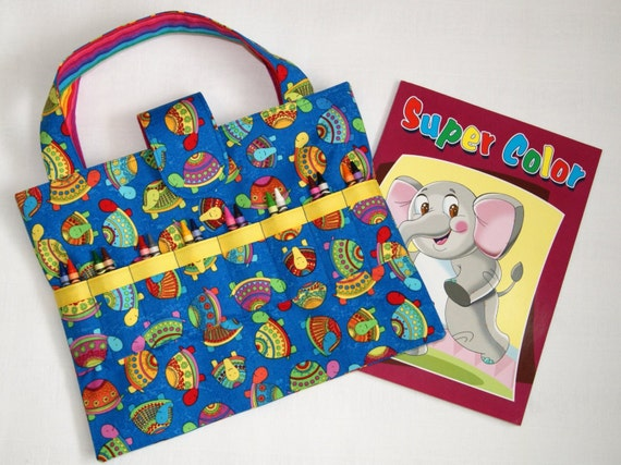 Child 39 s art bag coloring book crayon tote kid 39 s arts for Arts and crafts tote bags