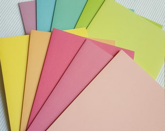 Rainbow Pastels blank note cards - set of 10 - DIY cards/Stationery set/Teacher/Appreciation Gift