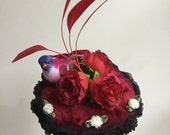 Red roses bird fascinator.