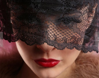 Masquerade veil - Blindfold - Black lace mourning veil - Steampunk Victorian wedding - Gothic costume.