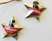Famosa Guatemalan Beer Stars, Gift Toppers Ornaments, Aluminum Can Upcycled