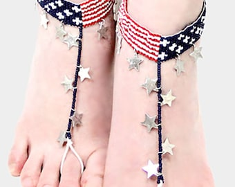 Anklet Pair Red White Blue USA Flag and Star Primary Colors