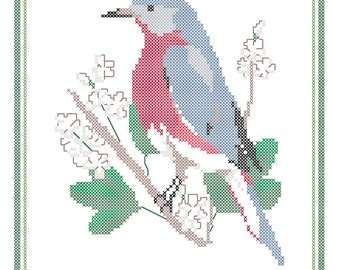 Missouri State Bird, Flower and Motto Cross Stitch Pattern PDF