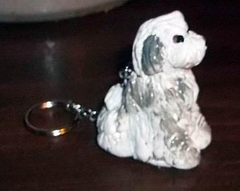 Bearded Collie Polyclay key chain