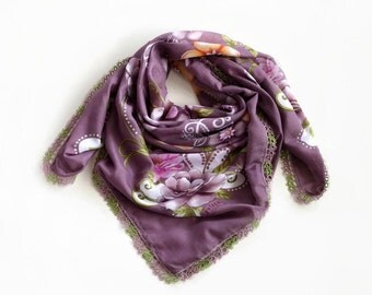 Boho Fashion Summer Scarf, Activewear Cheesecloth Turban Bandana Printed Floral Scarf Purple Muslin Authentic Scarf Tatting Lace Trim,  OOAK