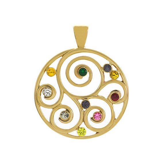 Family Spiral Birthstone Pendant (or Brooch) in 14K Gold | Grandmother Pendant | Mothers Birthstone Pendant
