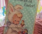 6 PAK Vintage Easter Tags / Adorable Vintage Bunny Girl Chicks / Favor Gift Basket Tag / Gift Box Tag / Customize Text / 1-2 Day Ship