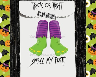 12 PAK Halloween Favor Bags / Green Monster Feet / Unique Folded Top With Text / Adults Kids ClassRoom Birthday / Candy Treat Bags  3DayShip
