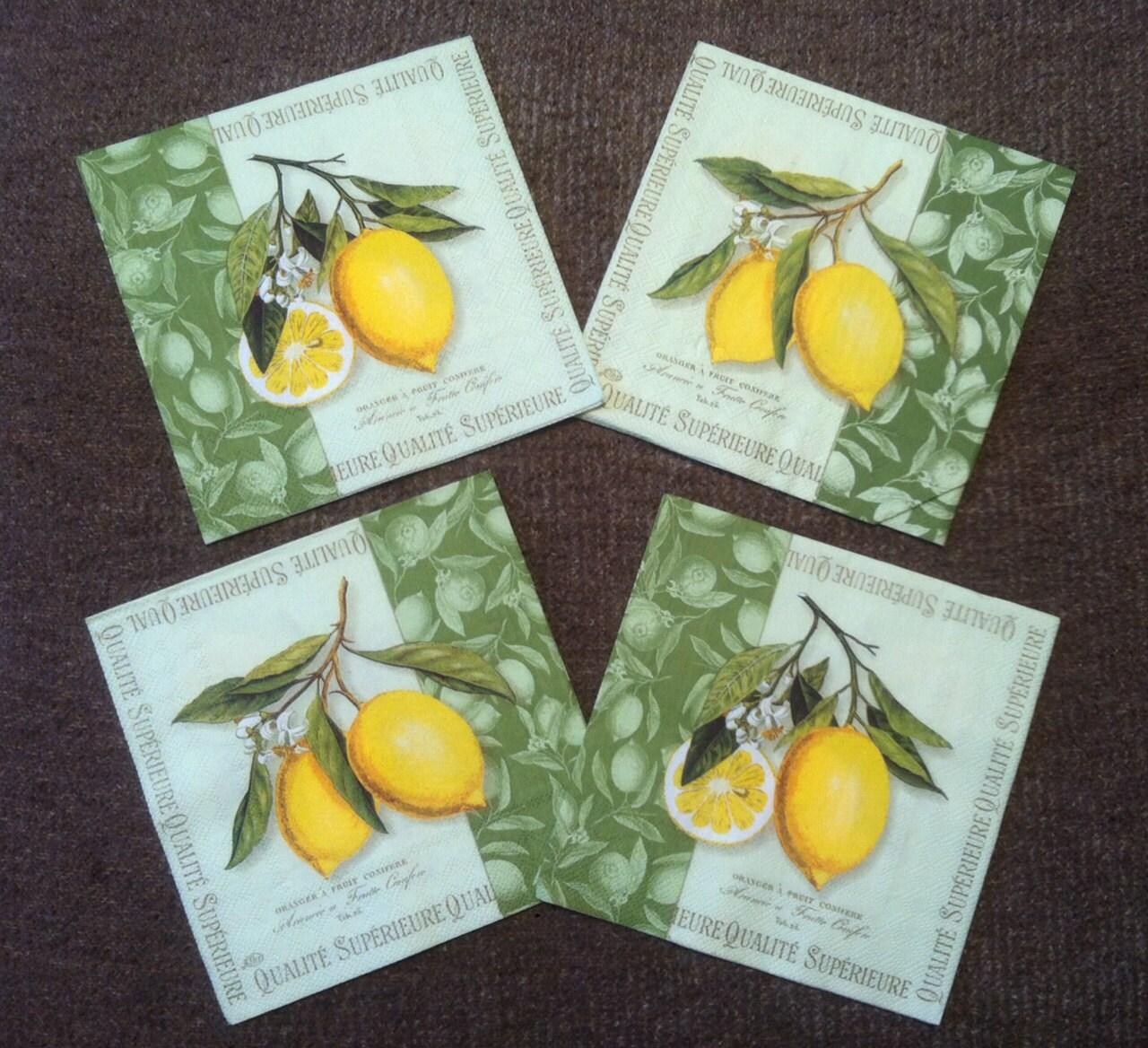 Pn 80 Paper Napkins For Decoupage With Lemon Fruit