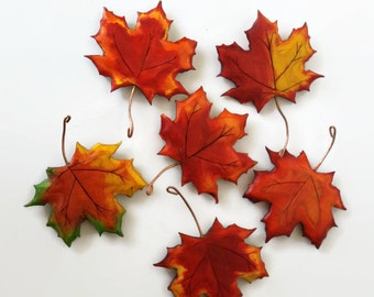 Thanksgiving Table Decor, Autumn Decor,Wood Maple Leaf Fridge Magnet, Hand Made, Hand Painted, 10 Maple Leaves, Free Shipping