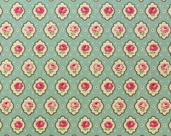 Yuwa Vintage Inspired Floral Print  Green  Cotton Fabric AT116529D