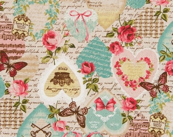 Cosmo Cotton Linen Fabric Vintage Ephemera Art Images AP52302-2a