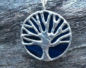 Navy blue and silver stained glass oak tree, tree of life, toomer's corner, Auburn pendant