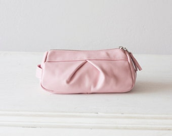 Baby pink leather makeup bag, accessory bag pencil case vanity storage zipper pouch  case  storage - Estia Bag