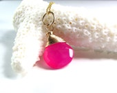 Chalcedony Necklace in 14k Gold Fill - Hot Pink Pendant - AdoniaJewelry