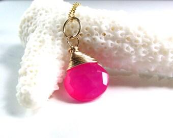 Spring Wedding Bridesmaids Gift ~ Hot Pink Pendant - AdoniaJewelry