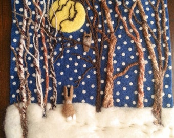 Snowy Winter Woods, Bunny in the Snow, Wool Painting, Needle Felted Picture