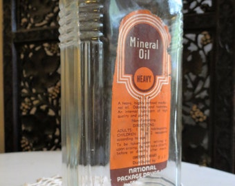 Vintage 1930s Mineral Oil Glass Bottle Rx Collectibles