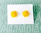 Yellow Rose Earrings - Sparkling Blooms - beach jewelry - SALE - perfect gift - Summer - bridesmaids - weddings - sale