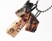 Dark House Necklace Pendants, Three Tiny Twisted Weird Clay Houses, Row Houses, Blackened Burned Pottery Cottage,Strange Crooked Shack,3A