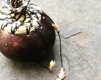Statement Jewelry, Gourd and Palmetto Fiber Necklace, Black and Tan, Natural Jewelry, YF2