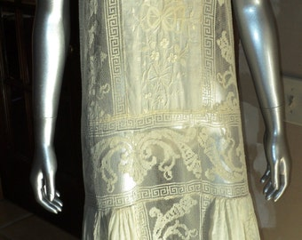 Antique 1920's Filet Lace Cotton Embroidered Tea Dress Wedding Dress Handmade Irish Crochet Greek Key Design Unusual