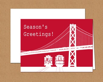 San Francisco Cable Cars Holiday Cards (set of 12)